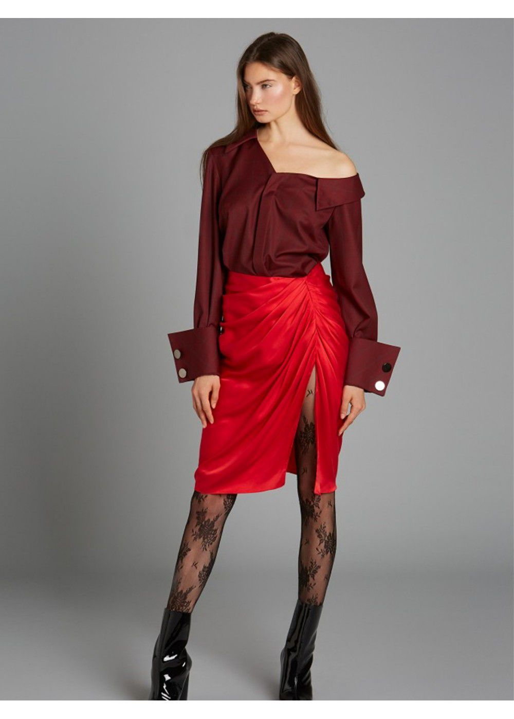 Vatanika One Shoulder Shirt in Burgundy